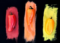 109/365 Food Art (Helen Orozco) Tags: day109365 365the2019edition foodart peppers paint paper vegetables kitchenart1