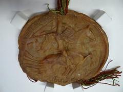 1406 - 'seal of Anthony of Burgundy, duke of Brabant and Limburg', Stadsarchief, Leuven, province of Flemish Brabant, Belgium (roelipilami (Roel Renmans)) Tags: 1406 anton antoine anthony bourgogne burgundy bourgondië burgund duc duke hertog herzog brabant limburg limbourg seal sceau zegel siegel blijde inkomst joyous entry leuven louvain stadsarchief city archives ville mantle sella crest horse caparison bascinet visor armor armour armure harnas rüstung caballero knight ritter chevalier hounskull beckenhaube aventail camail bec passereaux hundsgugel houppelande surcotte surcoat wappenkleid wapenrok armadura middle dutch middelnederlands entrée joyeuse mail hauberk cotte mailles poleyn plate