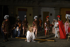Brunete, Spain - April 11, 2019: Theatrical performance of El Nazareno in the Plaza Mayor of the town by the neighbors (Rolando Cardeñoso) Tags: holyweek spain virginmary art catholic catholicism ceremony christ christianity church cross crucified culture dedication drum easter editorial historical holy illustrative jesus madrid passion procession religion religious roman theater thursday tradition traditional white brunete