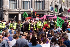 Extinction Rebellion - DSCF0196a (normko) Tags: london west end extinction rebellion climate change crisis ecological emergency protest demo demonstration disruption road block street protester chain lock tube oxford circus tellthetruth boat pink police cordon