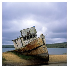 The abandoned Boat-- Point Reyes, May 2018 (Sandra Jinyi Li) Tags: abandoned boat film fujichrome 6x6 120 hasselblad zeisslens