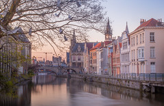 View of St. Michielsbrug (St. Michael's bridge) (Matosan25) Tags: ghent belgium europe travel trip night walk long exposure city sunset golden hour cityscape architecture skyline medieval old canon