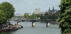 Pont des Arts, Louvre, and the Grand Palais - view from the Seine (Monceau) Tags: pontdesarts louvre grandpalais paris bridge seine landscape cityscape