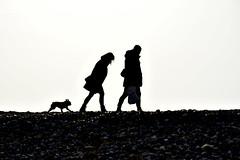 A walk on the beach. (pstone646) Tags: silhouette silhouettephotography people beach dog shore shingle dungeness kent walking man woman couple