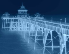 Negative View of Clevedon Pier (Kevin Pendragon) Tags: clevedon sea seafront water struc iron metal wood naturephotography nature national shadows seascape coast life blue outside pier beach negative