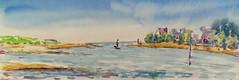 Guidel plage 1 (christian angué) Tags: mer plage cote estran riviere maritme bateau voilier morbihan bretagne aquarelle croquis usk