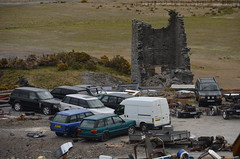 (Sam Tait) Tags: range land rover 4x4 scrap spares repairs yard frongoch lead mine ruin ruins derelict abandoned farm ceredigion wales junk pile old vogue v8 se ford transit van p38 industrial industry mining history historic