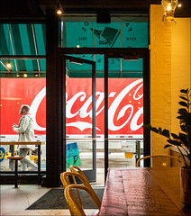 Color! (Kurt Kramer) Tags: color coffeehouse cocacola wickerpark signage lettering pedestrian strassenfotografie streetphotography