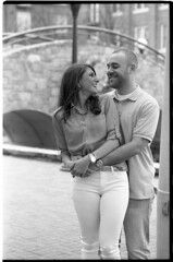 NicoleChazEngagementFilm028 (Johnny Martyr) Tags: engagementphotos engaged engagement couple young love leica leitz m6 summitar 50mm 5cm bw blackandwhite film rangefinder portrait downtownfrederick frederick maryland carroll creek smile happy 35mm kodak trix hc110 vintage retro