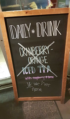 jk we have none (Coastal Elite) Tags: sidewalk sign joke none daily drink coburg coffee house halifax novascotia signs chalk jokes jk correct cranberry nothing