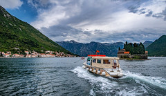 Getting to Perast, an old town on the Bay of Kotor (Vest der ute) Tags: g7xm2 g7xll montenegro sea sky clouds water boats buildings mountain trees island waves fav25
