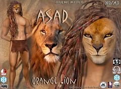 Asad avatar orange (Alea Lamont) Tags: ndmd asad lion avatar omega skin appliers catwa vista signature belleza male head body slink ak