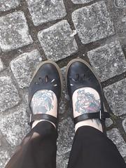 Work Feet (BecksInSpecks) Tags: feet foot tattoos tattoo swallows traditional bricks black shoe buckle work trousers