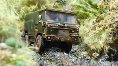British Army on Jungle Manouvres. (ManOfYorkshire) Tags: 72fl06 jungle diorama homemade scratchbuilt 176 scale oogauge model car landrover signals british army weathered oxforddiecast forwardcontrol fc