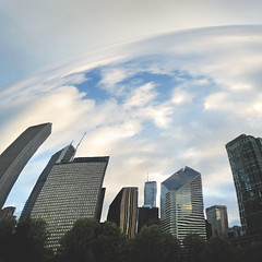 day 133 (Randomographer) Tags: project365 365 reflection lines curve abstract concrete seams shiny metal polished cloud gate sculpture millennium park bean black outdoor chicago city building sky skyline curved dome 133 2019 vii