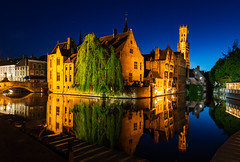 Bruges Reflection (mxt194) Tags: architecture building light night reflection orange yellow blue tree green bruges brugge belgium