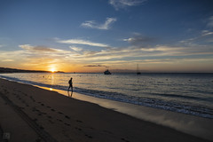Cabo Sunrise 1 (lycheng99) Tags: cabo cabosanlucas bajacalifornia baja mexico sunrise waves reflections jogger vessels sailing sky colorfulsky sun sand beach sandybeach footsteps silhouette clouds landscape nature travel explore morning dawn