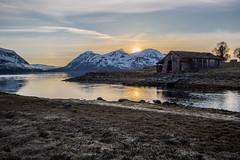 Old boat house (Bente Nordhagen) Tags: jægervatnet lyngen boathouse sunset sun river fjord mountains building hdr