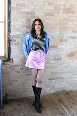 Pink Skirt and Boots 4 (Hannah McKnight) Tags: tgirl transgender transgirl model crossdress crossdresser boots miniskirt