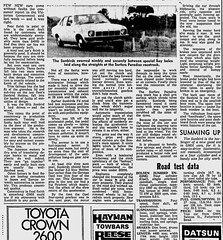 Dec1976No12 (mat78au) Tags: december 1976 melbourne newspaper extracts new holden sunbird 4cyl rts 1900 road test article dec 76 melb