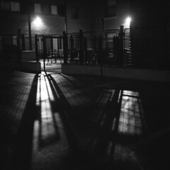 untitled (kaumpphoto) Tags: rolleiflex 120 tlr ilford bw black white street urban city shadow wall brick light minneapolis