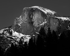 Half Dome, Early Evening Moonlight, Yosemite National Park, Winter 2019 #2 (bdrameyphotography) Tags: yosemitenationalpark halfdome yosemitevalley bw monochrome longexposure nikon nikond810 luminar skylum