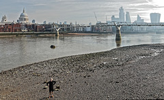 How do I get back up? (Croydon Clicker) Tags: foreshore beach river water tide bridge cathedral towers skyscrapers sky cloud buildings millenniumbridge thames london