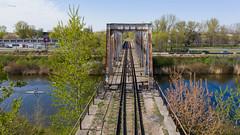 Old bridge (piotr_szymanek) Tags: outdoor landscape bridge rail water channel tree fromabove drone kayaking car building sport 1k 20f 50f