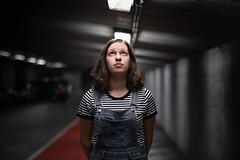 Light in the dark (Marie-Baeten) Tags: lightroom 70d f12 1400 50mm iso200 black light model portrait garage stripes lines canon