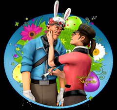 Bunneh (Shizucska) Tags: team fortress tf2 scout femscout couple easter bunny sfm videogame