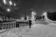 The Photo Session under a Snowfall - Фотосессия под снегопадом (Valery Parshin) Tags: russia saintpetersburg canoneos70d canonefs1018mmf4556isstm snow winter valeryparshin evening валерийпаршин россия санктпетербург stpetersburg bridge monochrome blackandwhite
