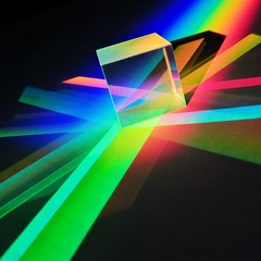 Splitting colours (Andyleach) Tags: colour light prism spectrum sunlight dichroiccross cube glass