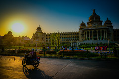 Vidhana Soudha at sunset - Bangalore India (mbell1975) Tags: bangalore karnataka india vidhana soudha sunset government capital capitol state assembly legislature building dome yellow sun blue orange afternoon late bengaluru