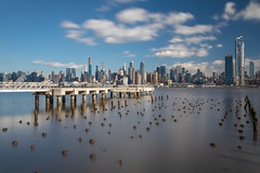 New York City Manhattan Midtown Panorama | Day | (JayDeWinne) Tags: newyork newyorkcity hudsonriver day skyline cityscape panorama panoramic sky colour color blue river building midtown skyscraper light nyc reflection manhattan quayside illuminated citylife downtown waterfront city streetlight tower officebuilding highrise architecture nopeople famousplace traveldestination internationallandmark cloud longexposure travel