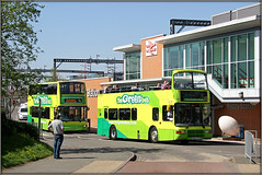 The Green Buses (Jason 87030) Tags: ball station rugby railway engineers replace replacement bus brum birmingham midlands international stations all gteen olympian man ipentop topless topdeck shandy vehicle yellow r365lgh