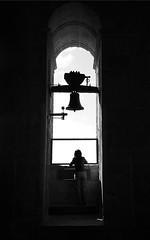 (cherco) Tags: woman bell campana backlighting arch arquitectura architecture shadows black blackandwhite monochrome composicion lonely alone cathedral church campanario sky persona