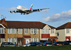 Emirates A380. Myrtle Ave. (Infinity & Beyond Photography: Kev Cook) Tags: emirates airways airlines airbus a380 aircraft airplane airliner london heathrow airport lhr myrtle avenue ave photos planes