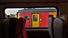 Watching The Train From The Train. (ManOfYorkshire) Tags: eastmidlands trains railway stagecoach diesel multiple unit dmu 2car class156 waiting view bayplatform window