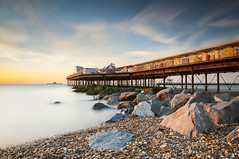 Herne Bay Pier at Sunset (Paul K Martin) Tags: herne bay kent uk pier beach seaside sunset long exposure f9 18mm 166 seconds water sky pebbles rocks metal lee filters nikon d300s seascape landscape
