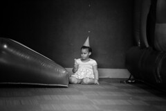 Birthday blues (joey.boatright) Tags: naturallight lightroom d750 nikon eyes hair grey young kid girl child baby white black blackandwhite bnw