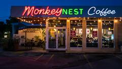 Monkey Nest Coffee (Jim Nix / Nomadic Pursuits) Tags: austin jimnix lx100 lightroom monkeynest nomadicpursuits panasonic texas bluehour cityscape coffeeshop downtown neon