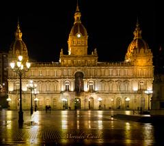 city hall of my city La Coruña (mercedescasal) Tags: ayuntamiento ciudad lacoruña galicia españa noche gobierno administraciónlocal 1918 plazamariapita palaciodeloscoruñeses