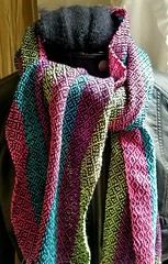 """Warp would need more length so a scarf could have fringe. This one was 80"""". (Sweet Annie Woods) Tags:"""