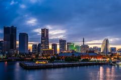 Yokohama Minatomirai at dusk (aotaro) Tags: redbrickwarehouse minatomirai landmarktower yokohama atdusk fe1635mmf4zaoss intercontinentalhotelyokohama ilce7m3 cosmoclock21 japan kanagawa