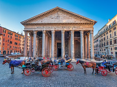 Pantheon in the morning with horse carriages ready to ride tourists (mutovkin) Tags: 2019 architecture building g9 hdr italy lumix lumixg9 morning panasonic panasonicg9 pantheon rome sky travel vacation