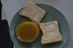 Toast with Dipping Sauce (Vegan) (Vegan Butterfly) Tags: vegetarian vegan food yummy tasty delicious breakfast meal plate toast bread becel margarine dipping sauce egg yolks eggless