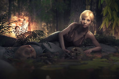 The forest floor (Mark Frost :)) Tags: skull bones ferns blonde sexy breasts skin water reflection liquid lake pond woman naked swim sun sunset sky leaves trees woods rocks render 3d cgi cg daz studio iray image manipulation photoshop composite fiction fantasy ripple ripples portrait lie lying wet cleavage