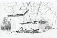Sheds. Modern vernacular architecture (Bohdan Tymo) Tags: graphite pencil spring countryside