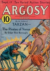 """Argosy Weekly, Vol. 232, No. 5 (September 17, 1932).  Cover Art by Paul Stahr.  Part 1 of """"The Pirates of Venus"""" by Edgar Rice Burroughs. (lhboudreau) Tags: pulp magazine magazines pulpmagazine pulpmagazines magazinecoverart pulpmagazinecover pulpmagazinecovers magazinecover magazinecovers argosy argosymagazine argosyweekly september171932 1932 paulstahr pulpart pulpfiction illustration drawing edgarriceburroughs erburroughs burroughs piratesofvenus thepiratesofvenus venus spear bug insect gianttick volume232number5 action story stories loincloth"""