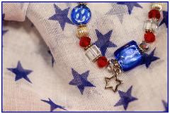 patriotic bracelet (Karon Elliott Edleson) Tags: scarf stars macro memorialday spirit pride jewelry redwhiteandblue patriotic lookingcloseonfriday bracelet